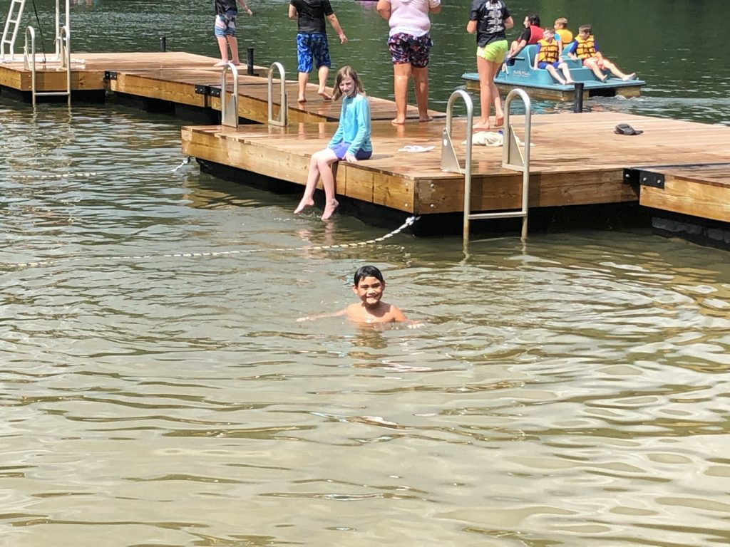 Swimming in the lake